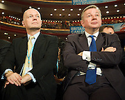 Conservative Party Conference, ICC, Birmingham, Great Britain <br /> Day 2<br /> 8th October 2012 <br /> <br /> Rt Hon George Osborne MP <br /> <br /> Chancellor of the Exchequer keynote speech <br /> <br /> <br /> William Hague & Michael Gove watching speech <br /> <br /> <br /> Photograph by Elliott Franks<br /> <br /> <br /> Tel 07802 537 220 <br /> elliott@elliottfranks.com<br /> <br /> ©2012 Elliott Franks<br /> Agency space rates apply