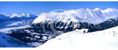Alaska. Girdwood. View from atop Mt Alyeska during winter ski activities.