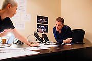 Geoff Keighley produces The Game Awards, which will take place in Los Angeles in December. He works in his office alongside Co-executive Producer Kimmie Kim to prep for the upcoming video game awards event in Los Angeles, California, November 5, 2015.