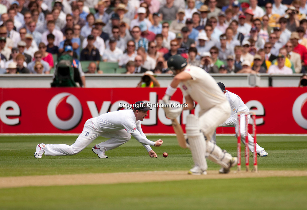 Paul Collingwood drops Shane Watson off James Anderson during the fourth Ashes test match between Australia and England at the MCG in Melbourne, Australia. Photo: Graham Morris (Tel: +44(0)20 8969 4192 Email: sales@cricketpix.com) 26/12/10