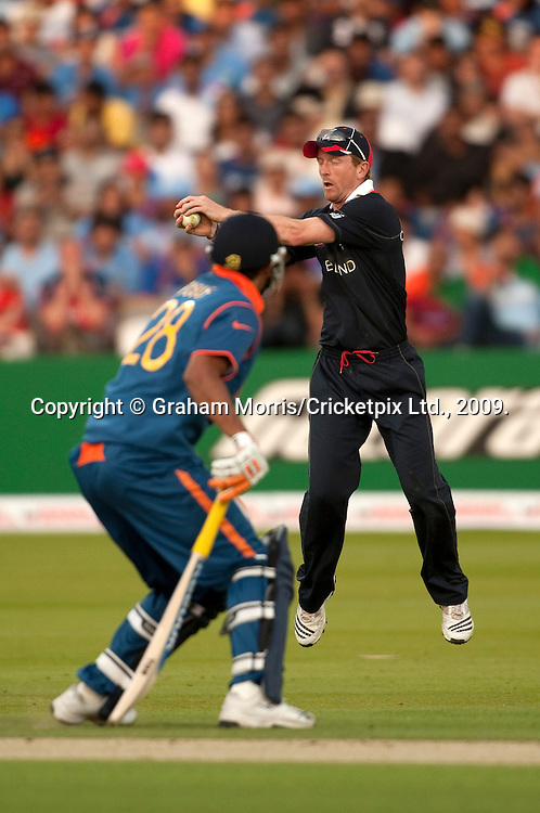 Captain Paul Collingwood fielding during the ICC World Twenty20 Cup match between India and England at Lord's. Photo © Graham Morris (Tel: +44(0)20 8969 4192 Email: sales@cricketpix.com)