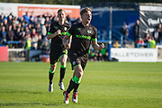 Forest Green Rovers Dayle Grubb(8) scores a goal 0-1 and celebrates during the EFL Sky Bet League 2 match between Macclesfield Town and Forest Green Rovers at Moss Rose, Macclesfield, United Kingdom on 29 September 2018.