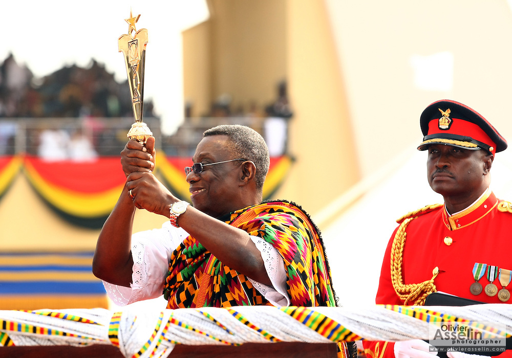 Ghana's new president John Atta Mills holds a traditional golden staff during his inauguration in Accra, Ghana on Wednesday January 7, 2009.
