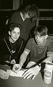 Tom Hingley signing autographs after Inspiral Carpets gig, Manchester, UK, circa 1990