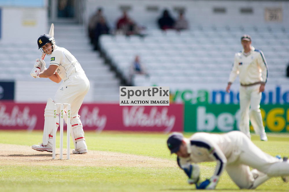 Sam Hain watches as Andy Hodd tries to make a catch in the Yorkshire v Warwickshire LV= County Championship Division One at Headingley, 26 April 2015<br />