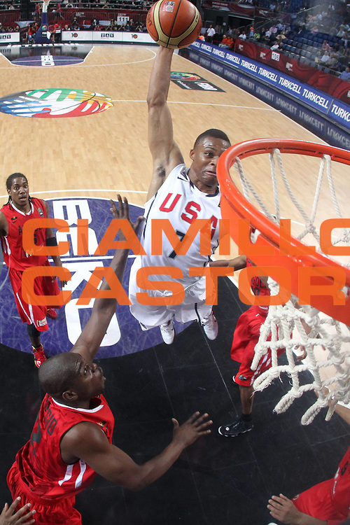 DESCRIZIONE : Istanbul Turchia Turkey Men World Championship 2010 Eight Finals Campionati Mondiali Ottavi di Finale USA Angola<br /> GIOCATORE : Russel Westbrook<br /> SQUADRA : USA<br /> EVENTO : Istanbul Turchia Turkey Men World Championship 2010 Campionato Mondiale 2010<br /> GARA : USA Angola<br /> DATA : 06/09/2010<br /> CATEGORIA : tiro shot schiacciata dunk special<br /> SPORT : Pallacanestro <br /> AUTORE : Agenzia Ciamillo-Castoria/ElioCastoria<br /> Galleria : Turkey World Championship 2010<br /> Fotonotizia : Istanbul Turchia Turkey Men World Championship 2010 Eight Finals Campionati Mondiali Ottavi di Finale USA Angola<br /> Predefinita :