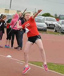 Jessica Moran from Kilmovee competing in the girls U14 javelin at the Mayo Community Games.<br /> Pic Conor McKeown