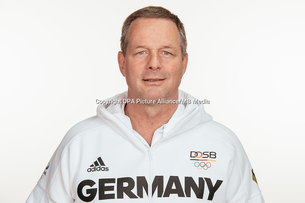 Michael Bzynski poses at a photocall during the preparations for the Olympic Games in Rio at the Emmich Cambrai Barracks in Hanover, Germany, taken on 12/07/16   usage worldwide