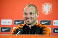 5-9-2018 ZEIST - Wesley Sneijder of the Dutch national team speaks to the press in the run-up to the international match against Peru. Its the last match of wesley sneijder then he retires. copyright robin urecht