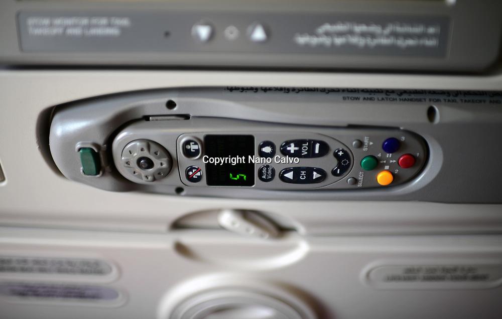 Entertainment control in Emirates flight