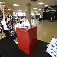 Adam Robison | BUY AT PHOTOS.DJOURNAL.COM<br /> Kay Mathews, with Regional Rehab, places her ballot in the box after voting for best food sculpture at the 2015 United Way Campaign Celebration Thureday at the BancorpSouth Arena in Tupelo.