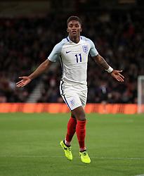 England's Demarai Gray celebrates scoring their opening goal of the game