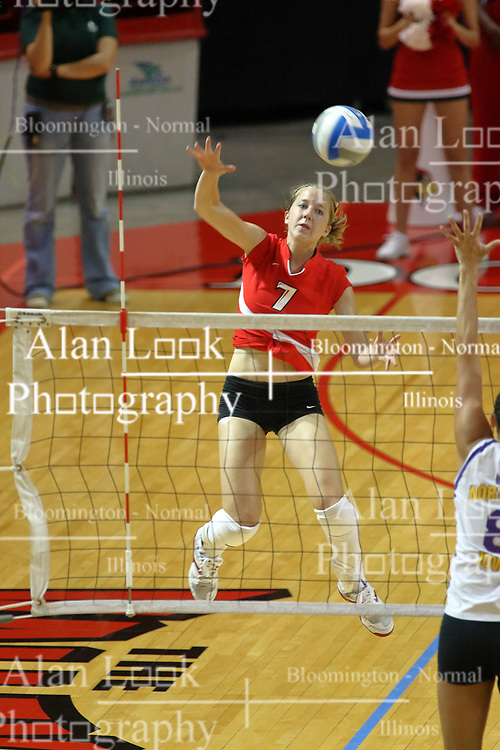 06 October 2007:  M.C. Richmond gets some air to power a strike to Panthers Laura Rowen. The Illinois State Redbirds pulled out a photo finish in a match that saw the 4th and 5th games extend into extra point play. Northern Iowa Panthers visited the Illinois State Redbirds at Redbird Arena on the campus of Illinois State University in Normal Illinois.