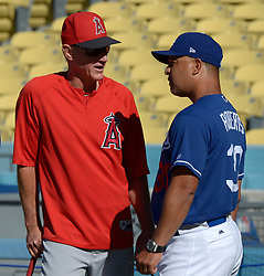 June 27, 2017 - Los Angeles, California, U.S. - Los Angeles Dodgers manager Dave Roberts (30) talks with Los Angeles Angels coach Ron Roenicke prior to a Major League baseball game between the Los Angeles Angels and the Los Angeles Dodgers at Dodger Stadium on Tuesday, June 27, 2017 in Los Angeles. (Photo by Keith Birmingham, Pasadena Star-News/SCNG) (Credit Image: © San Gabriel Valley Tribune via ZUMA Wire)