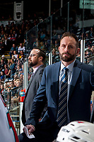 KELOWNA, CANADA - APRIL 26: Kelowna Rockets' head coach Jason Smith stands on the bench against the Seattle Thunderbirds on April 26, 2017 at Prospera Place in Kelowna, British Columbia, Canada.  (Photo by Marissa Baecker/Shoot the Breeze)  *** Local Caption ***