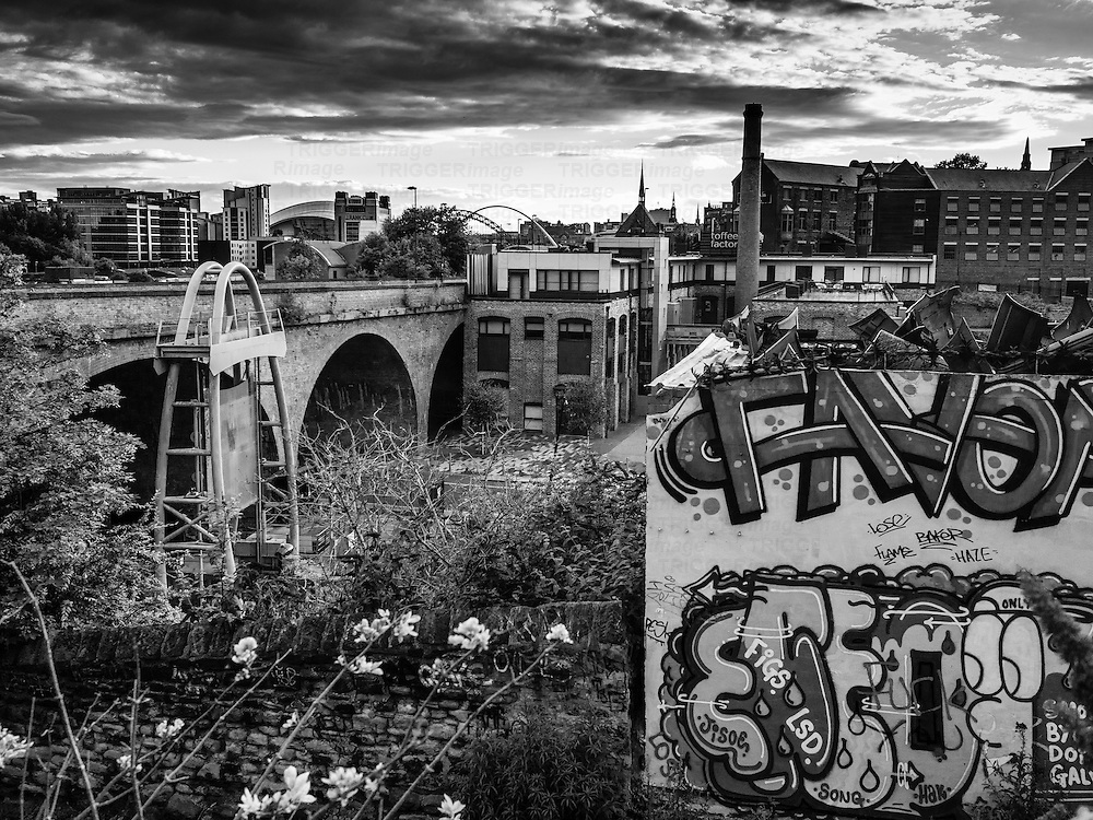 View over Newcastle in England with graffiti and old buildings