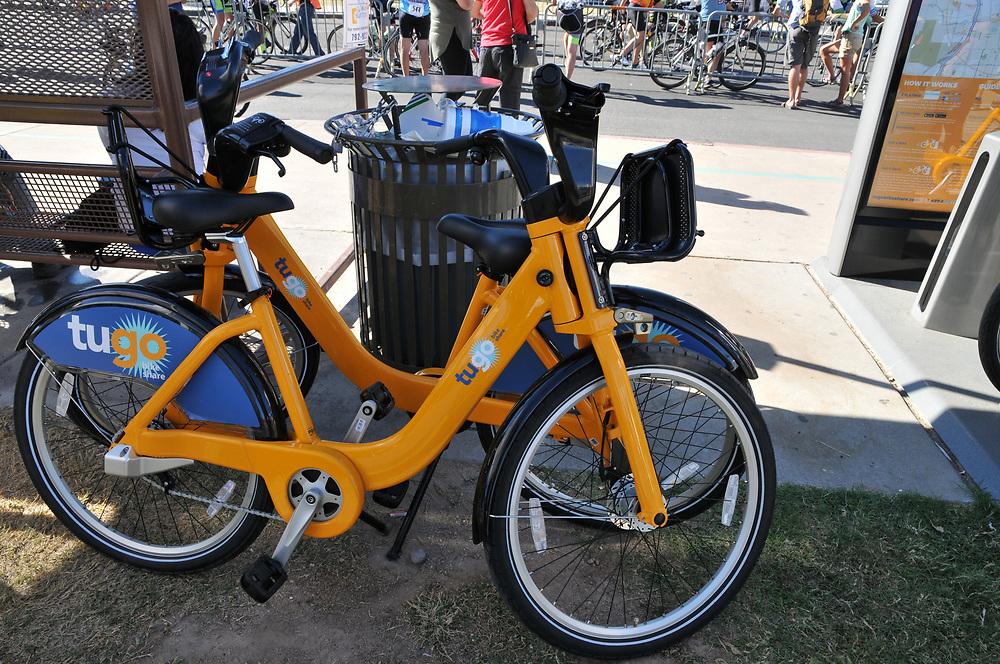 Tugo bikes await riders during the Tour de Tucson 2017 demonstration.