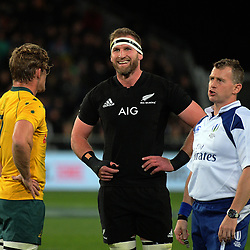 Team captains Michael Hooper (left) and Kieran Read wait for a decision from referee Nigel Owens (right) during the Rugby Championship and Bledisloe Cup rugby match between the New Zealand All Blacks and Australia Wallabies at Forsyth Barr Stadium in Dunedin, New Zealand on Saturday, 26 August 2017. Photo: Dave Lintott / lintottphoto.co.nz