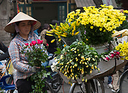 A woman selling yellow chrysanthemums, lillies and roses in the Old Quarter of Hanoi, Vietnam, Southeast Asia
