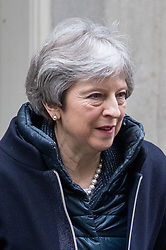 © Licensed to London News Pictures. 28/03/2018. London, UK. British Prime Minister Theresa May leaves 10 Downing Street to attend Prime Ministers Questions. Photo credit : Tom Nicholson/LNP