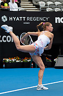 SYDNEY, NSW - JANUARY 07: Camila Giorgi (ITA) serves at The Sydney International Tennis on January 07, 2018, at Sydney Olympic Park Tennis Centre in Homebush, Australia. (Photo by Speed Media/Icon Sportswire)