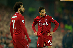 LIVERPOOL, ENGLAND - Wednesday, February 27, 2019: Liverpool's Trent Alexander-Arnold (R) and Mohamed Salah during the FA Premier League match between Liverpool FC and Watford FC at Anfield. (Pic by Paul Greenwood/Propaganda)