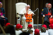 """Vatican City may 28th 2016, pope meets the """" Children's train """". In the picture pope Francis with a life vest of an immigrant child died in Mediterranean Sea"""