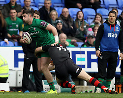 London Irish's Eoin Griffin is tackled by Edinburgh's Tim Visser - Photo mandatory by-line: Robbie Stephenson/JMP - Mobile: 07966 386802 - 05/04/2015 - SPORT - Rugby - Reading - Madejski Stadium - London Irish v Edinburgh Rugby - European Rugby Challenge Cup