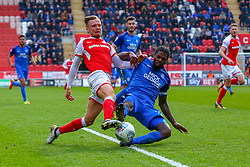 Andrew Hughes of Peterborough tackles David Ball of Rotherham United - Mandatory by-line: Ryan Crockett/JMP - 30/03/2018 - FOOTBALL - Aesseal New York Stadium - Rotherham, England - Rotherham United v Peterborough United - Sky Bet League One