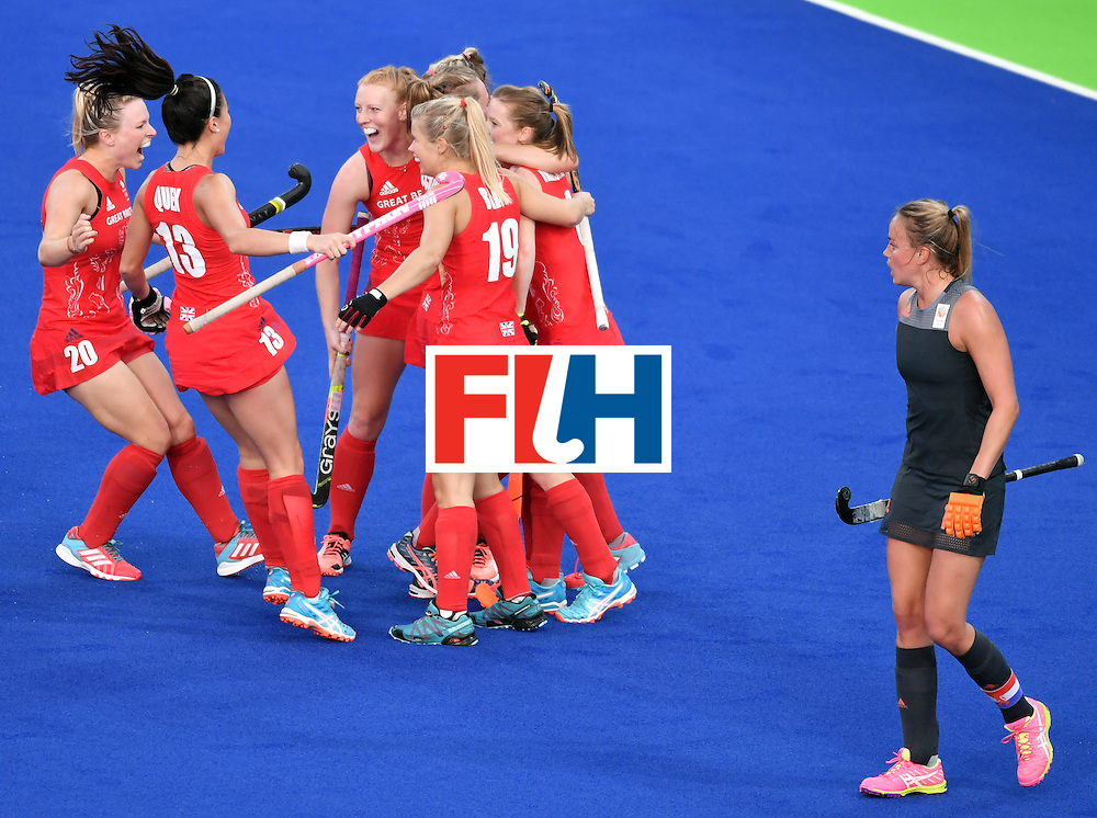 Britain's players celebrate a goal during the women's Gold medal hockey Netherlands vs Britain match of the Rio 2016 Olympics Games at the Olympic Hockey Centre in Rio de Janeiro on August 19, 2016. / AFP / Pascal GUYOT        (Photo credit should read PASCAL GUYOT/AFP/Getty Images)