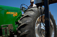 A tractor is weighed during a tractor pull in Girard, Kansas, Sep. 6, 2010.