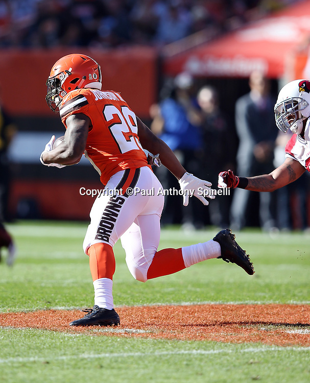 Cleveland Browns running back Duke Johnson, Jr. (29) shakes off a tackle attempt by Arizona Cardinals free safety Rashad Johnson (26) on a first quarter pass reception and run for a gain of 52 yards and a first down at the Cardinals 6 yard line during the 2015 week 8 regular season NFL football game against the Arizona Cardinals on Sunday, Nov. 1, 2015 in Cleveland. The Cardinals won the game 34-20. (©Paul Anthony Spinelli)