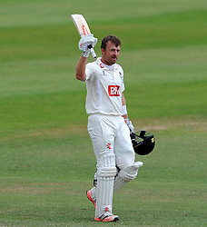 Sussex's Chris Nash celebrates his century. - Photo mandatory by-line: Harry Trump/JMP - Mobile: 07966 386802 - 08/07/15 - SPORT - CRICKET - LVCC - County Championship Division One - Somerset v Sussex- Day Four - The County Ground, Taunton, England.