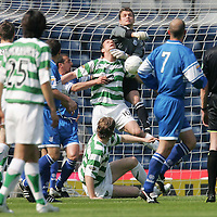 St Johnstone v Celtic...Scottish Cup Semi-Final...14.04.07<br /> Kevin Cuthbert punches clear from Jan Vennegoor of Hesselink<br /> <br /> Picture by Graeme Hart.<br /> Copyright Perthshire Picture Agency<br /> Tel: 01738 623350  Mobile: 07990 594431