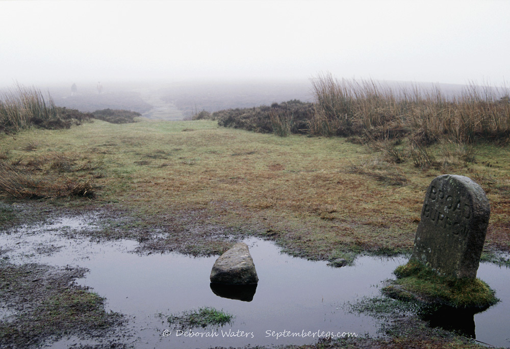 Broad Burrow marker stone in a puddle of water on a foggy grim winter day, Dartmoor National Park, Devon, England