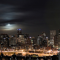 Super Moon above downtown Denver, Colorado 2011
