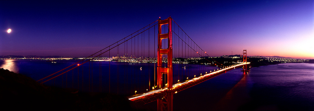 Golden Gate bridge, evening, moon, San Francisco, California