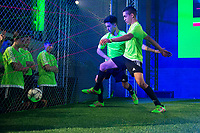 Two participans during the presentation of the new Adidas shoes ACE 16 at the 1v1 tournament to find the boss of Madrid at the Museo del Ferrocarril in Madrid, March 09, 2016. (ALTERPHOTOS/BorjaB.Hojas)