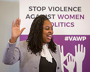 Dawn Butler, MP & Shadow Secretary of State for Women and Equalities, Labour Party 'Violence Against Women in Politics' Conference, organised by all the UK political parties in partnership with the Westminster Foundation for Democracy, 19th and 20th of March 2018, central London, UK.  (Please credit any image use with: © Andy Aitchison / WFD