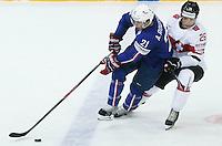 Antoine Roussel / Reto Suri - 03.05.2015 - France / Suisse - Championnat du Monde de Hockey sur Glace -Prague <br />Photo : Xavier Laine / Icon Sport