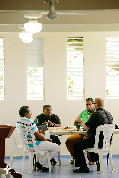 The Rev. Joel Fritsche, LCMS career missionary to the Dominican Republic, teaches class at the Concordia Reformer Lutheran Seminary and Mercy Center in Palmar Arriba, Dominican Republic, on Wednesday, Oct. 18, 2017. LCMS Communications/Erik M. Lunsford