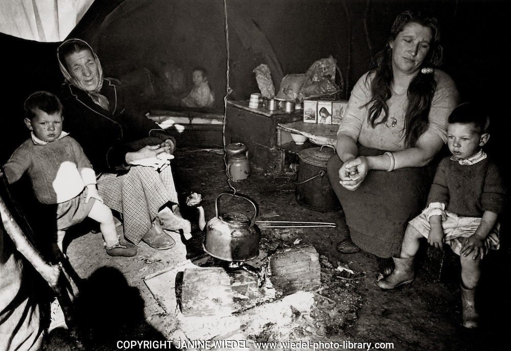 Irish Tinker Traveller family living in tent in Southern Ireland in the 1970's.