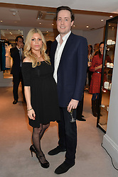 The HON.MAX AITKEN son & heir to the 3rd Lord Beaverbrook and his wife INES NIETO  at a party at Herve Leger, Lowndes Street, London on 12th November 2014 to view the latest collection.