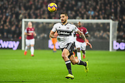 Fulham Forward Aleksandar Mitrovic (9) in action during the Premier League match between West Ham United and Fulham at the London Stadium, London, England on 22 February 2019.