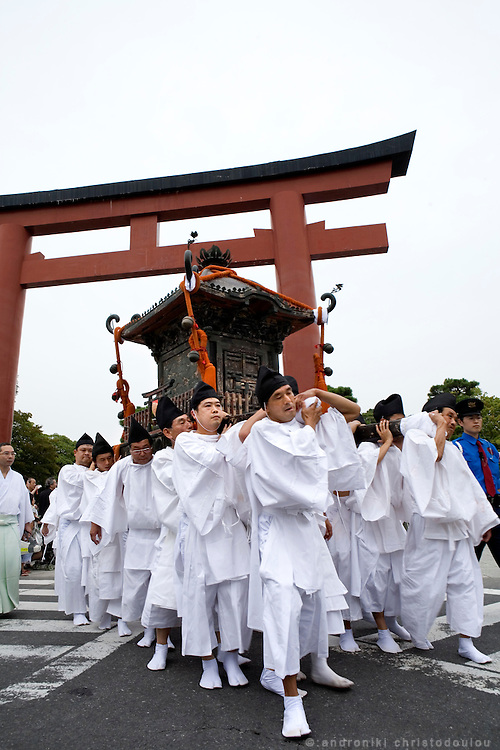 Religious procession with portable shrines, during the second day of the 3-day anual festival of Tsurugaoka Hachimangu Shrine in Kamakura.