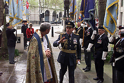 REV DAVID McKENZIE with Chief of Air Staff, Sir Peter Squire, during the 60th Anniversary service of The Commonwealth Air Plan, The St Clement Danes church, Strand, London, April 30, 2000. Photo by Andrew Parsons / i-images..