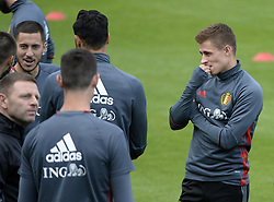 October 2, 2017 - Tubize, Belgique - TUBIZE, BELGIUM - OCTOBER 2 : Thorgan Hazard midfielder of Belgium and Eden Hazard midfielder of Belgium during training session of the National Soccer Team of Belgium prior to the World Cup 2018 qualification games against Bosnia and Herzegovina and Cyprus at the Belgian Football center on October 02, 2017 in Tubize, Belgium, 2/10/2017 (Credit Image: © Panoramic via ZUMA Press)
