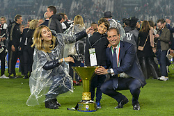 May 19, 2019 - Turin, Turin, Italy - Massimiliano Allegri head coach of Juventus FC lifts the trophy of Scudetto  2018-2019 at Allianz Stadium, Turin  (Credit Image: © Antonio Polia/Pacific Press via ZUMA Wire)