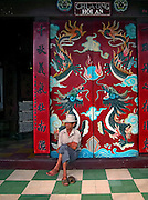 Vietnam, Hoi An:the door of  a Pagoda.