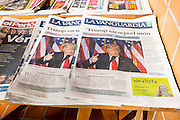 Donald Trump's win of the 2016 US presidential elections, documented on the cover of Spanish newspapers, Barcelona, November 2016.